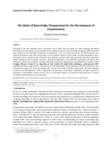 The Roles of Knowledge Management for the Development of