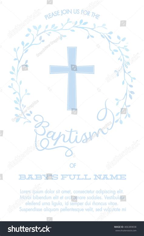 Baptism Christening Invitation Cross Watercolor Floral