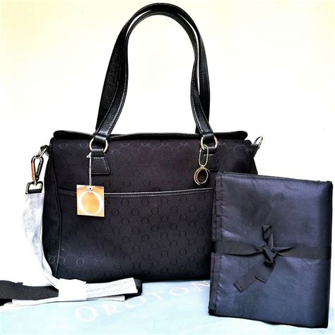 oroton signature  nappy baby bag tote handbag black