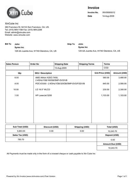 template pdf invoice format pdf free printable invoice