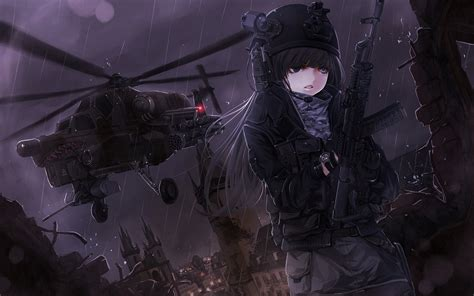 anime anime girls gun helicopters wallpapers hd