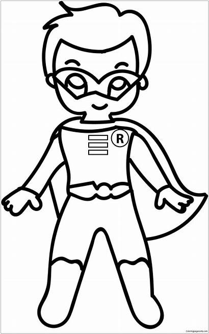 Pages Coloring Superhero Cartoon Superman Drawing Costume