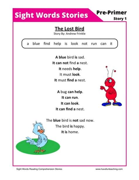 reading comprehension worksheet  lost bird