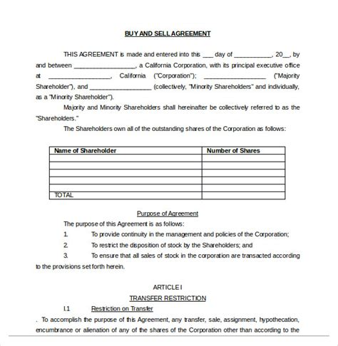 buy sale agreement templates word apple pages