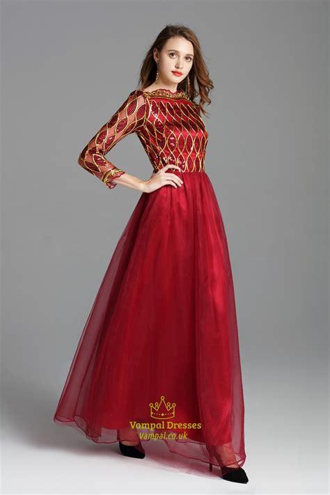 burgundy sequin embellished floor length prom dress