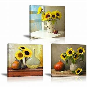 Sz hd sunflower wall art beautiful floral still life for What kind of paint to use on kitchen cabinets for 2 panel canvas wall art