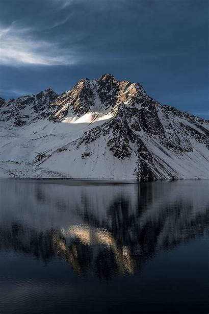 Chile Santiago Coated Snow Mountain Near Water