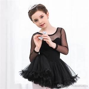 2018 Ballet Tutu Costume Girls Long Sleeve Black Ballet ...