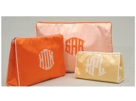 monogrammed large zippered cosmetic bag  talley ho de