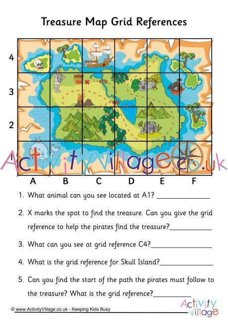 practice grid references   fun treasure map