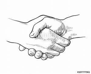 """Hand drawn sketch illustration of a handshake"" Stock ..."