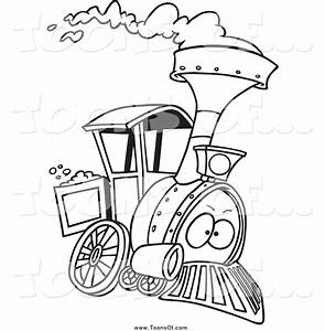 Clipart of a Black and White Steam Engine Train by Ron ...