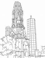 Coloring Tower Wilhelm Berlin Church Kaiser Germany Castle York Famous Places Neuschwanstein Memorial Hellokids Library Mets Castles Drawing Adult German sketch template