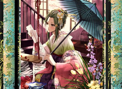 Anime Traditional Girl Sad Woman In Traditional Kimono