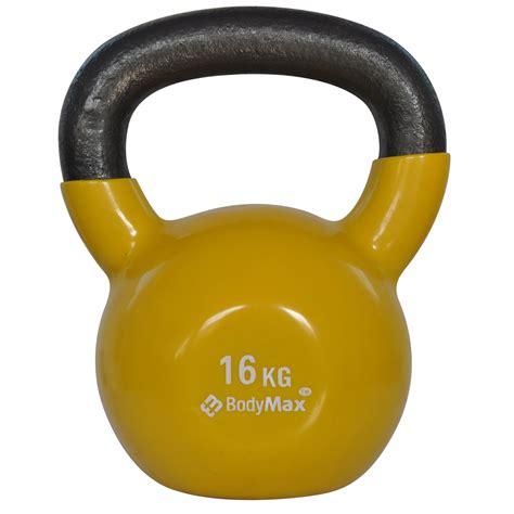 16kg coated vinyl kettlebell bodymax yellow fitness