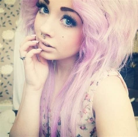 Pretty Pink Scene Hair Curls Emo Indie Hair Makeup