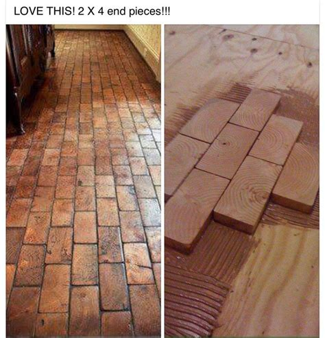 faux brick tile flooring 2x4 faux brick floor with wood blocks wooden blocks for