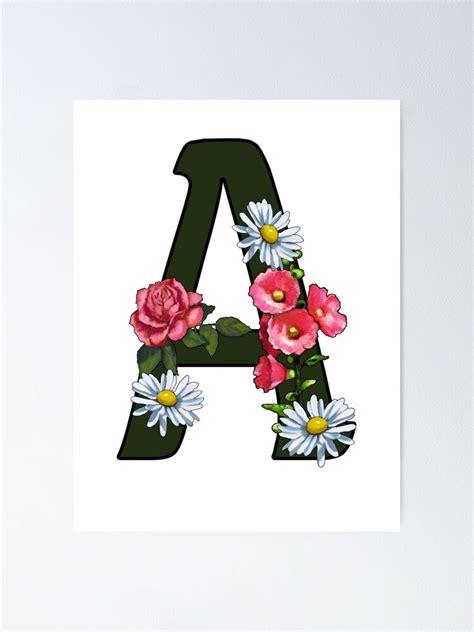 letter  alphabet monogram initial  pink flowers poster  joyce redbubble