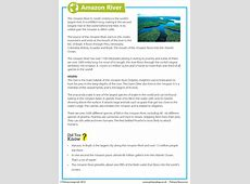 Amazon River Reading Comprehension
