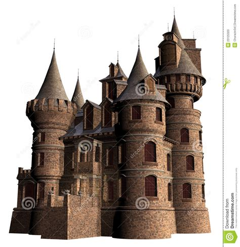 Old castle with towers stock illustration. Image of