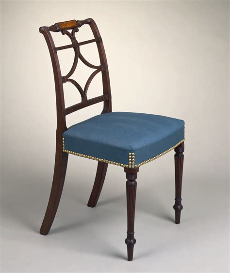 file scroll back side chair with inlaid rail and reeded