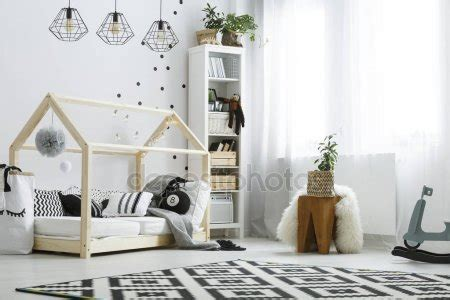 black and white bedrooms cozy room for baby stock photo 169 photographee eu 152684544 14562 | depositphotos 145626513 stock photo bedroom with wooden house bed