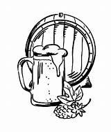 Beer Coloring Barrel sketch template
