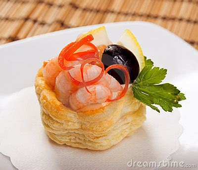 canapes with prawns canapes with prawns and lemon stock images image 14007934