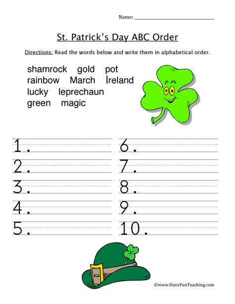 st patrick s day worksheets have fun teaching