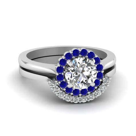 cut floral halo diamond wedding ring set  blue