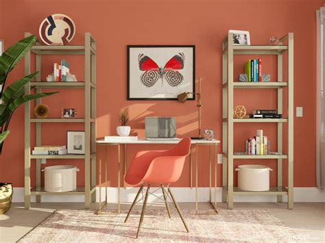 Energizing Office In Beautiful Red Hues | Glam-Style Home ...