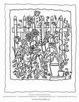 Garden Flowers Coloring Pages Simple Flower Sheets Fence Picket Colouring Gardening Gardens Easy Sheet Country Plants Spring Rustic Print Without sketch template