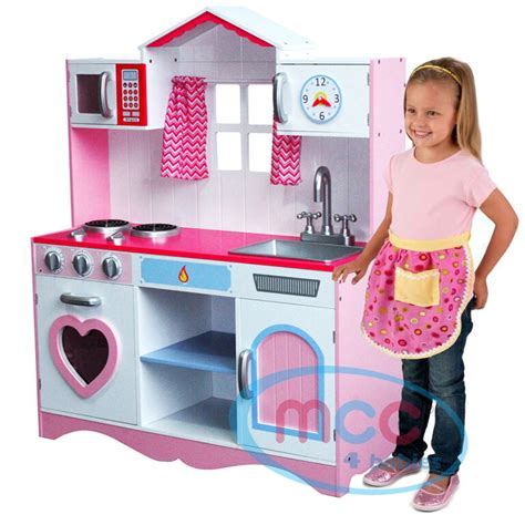 mcc large girls kids pink wooden play kitchen childrens play pretend set toy ebay