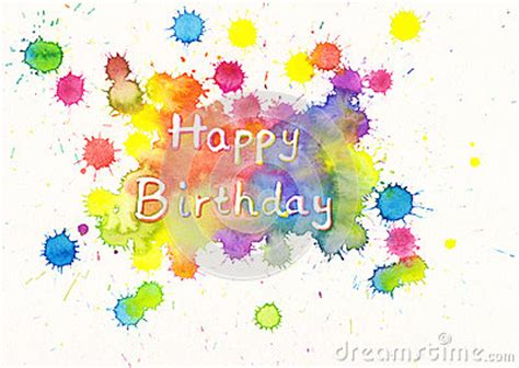 happy birthday watercolor card stock images image