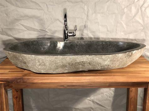 river rock boulder stone vessel sink extra large long