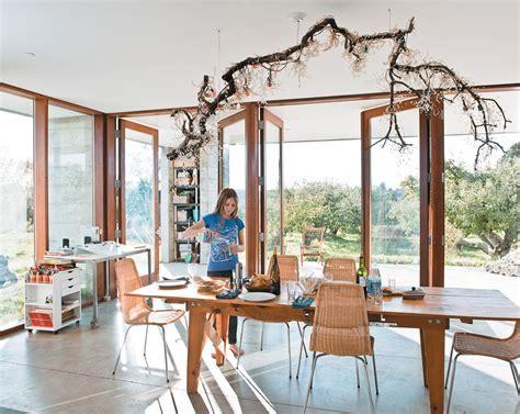 Prefab Concrete Farmhouse: Massive Cypress Slab Table and