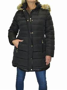 Womens Quilted Puffer Coat With A Detachable Faux Fur Hood