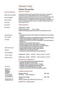 resume format for market research market research resume exle sle researcher key skills sales marketing