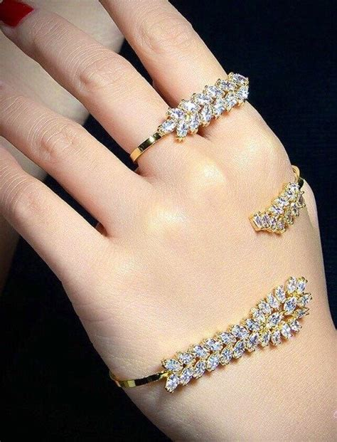 piece diamond hand bracelet wedding jewelry set palm