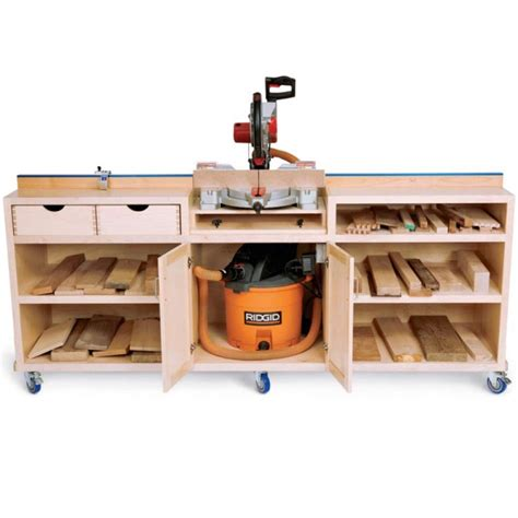 table saw workbench woodworking plans woodworker 39 s journal ultimate miter saw stand plan