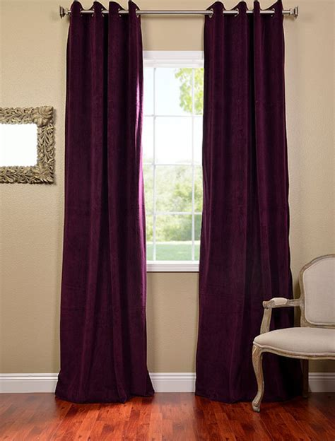 eggplant grommet velvet blackout curtains drapes