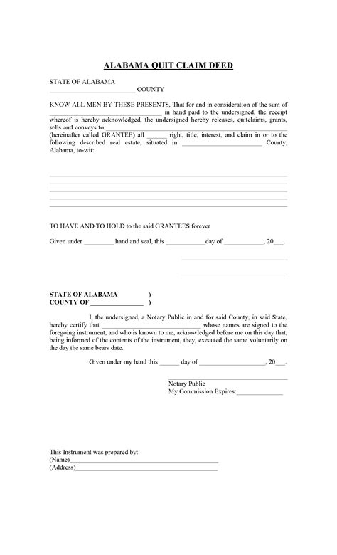 alabama quit claim deed  printable legal forms