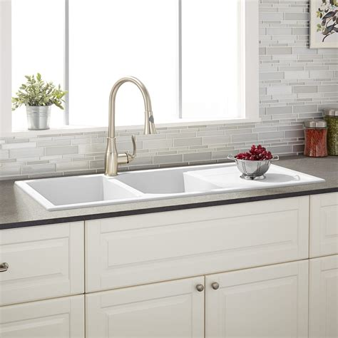 kitchen sinks white 46 quot tansi bowl drop in sink with drain board 3067