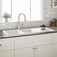 """white kitchen sinks 46"""" Tansi Double-Bowl Drop-In Sink with Drain Board ..."""