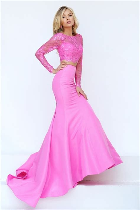 Gorgeous Mermaid Two Piece Pink Satin Lace Beaded Prom ...
