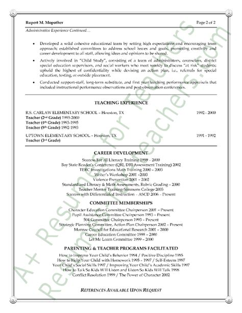 Resumes For Vice Principals by Vice Principal Resume Sle Page 2