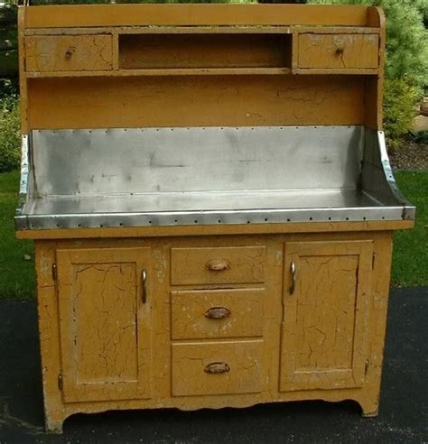 antique amish high  dry sink yellow crackle paint ebay