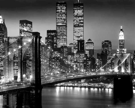 New York  Schwarz Und Weiß Brücke  Miniposter 50x40