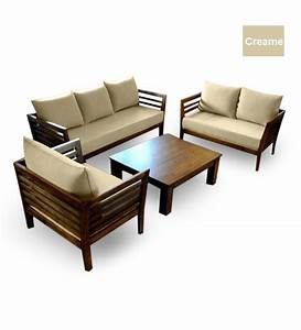 Wooden Sofa Set (3+2+1 Seater + Coffee Table) by Furny