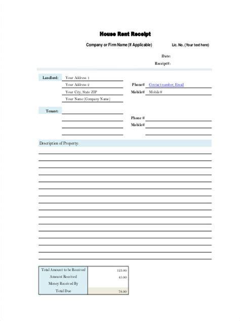 rent receipt forms